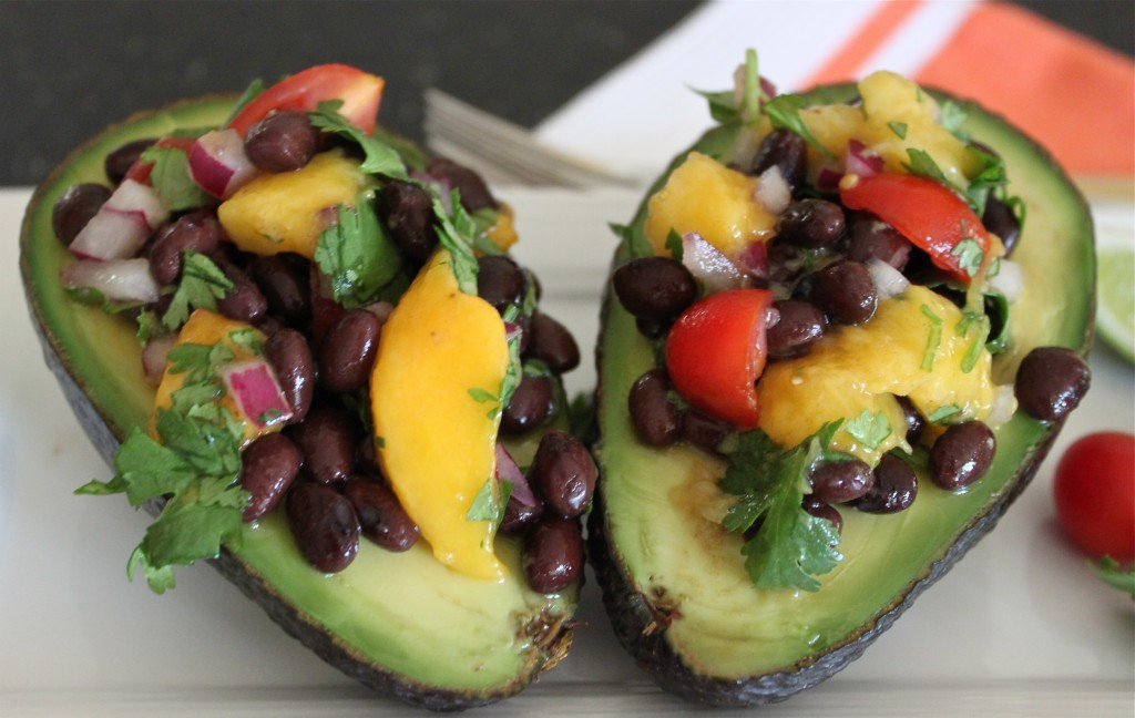 avacado stuffed with black bean and mango