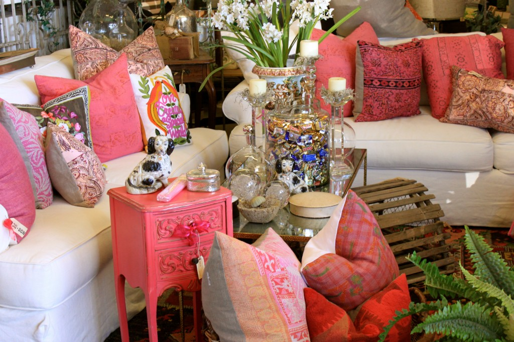 pink pillows at bon bon home