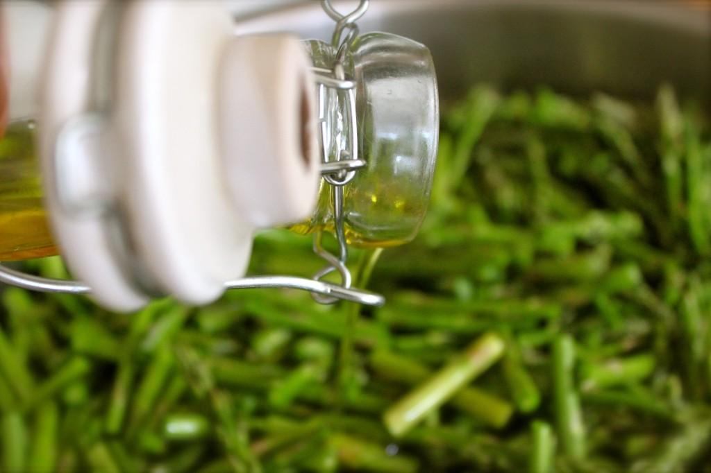 olive oil on asparagus