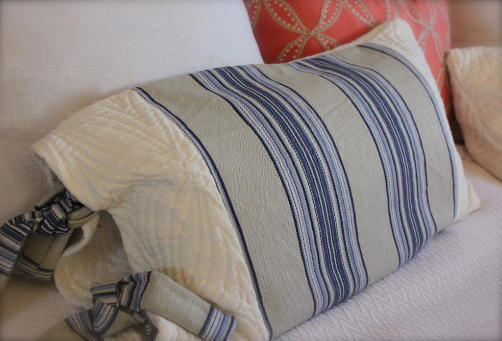 custom pillows burlap and crystal