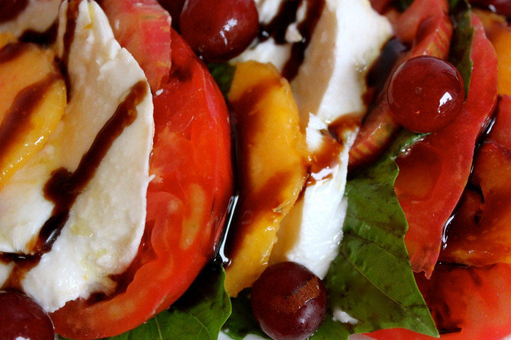 peach grape caprese