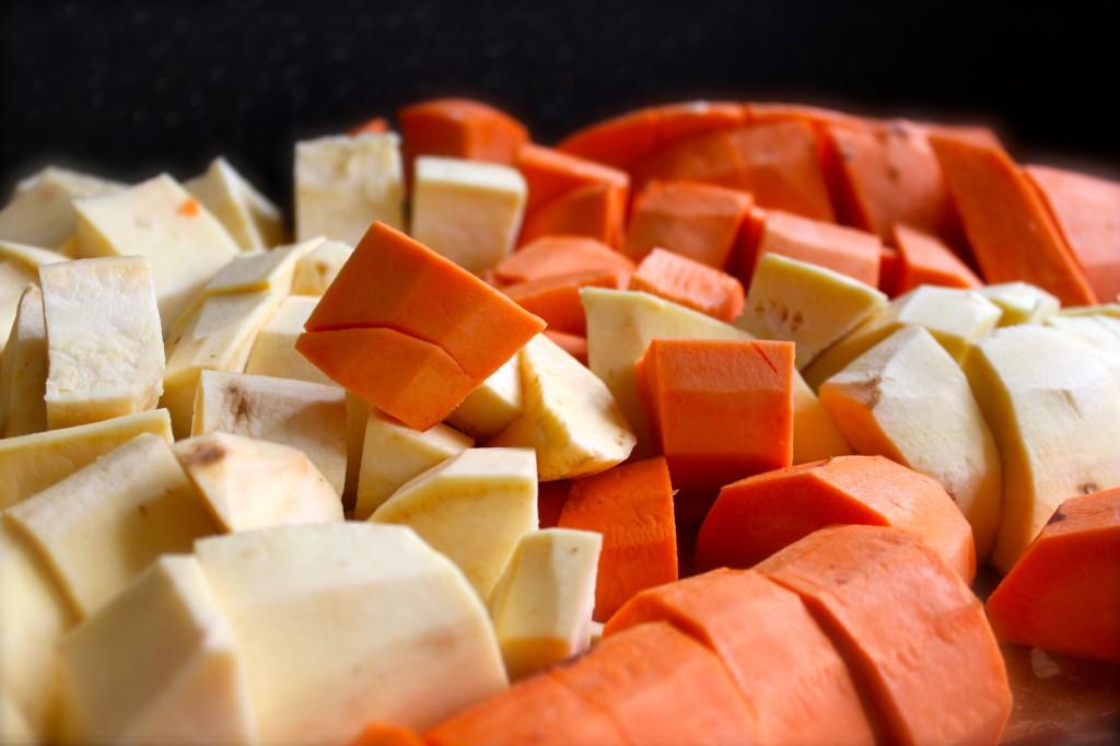 chopped sweet potatoes and yams