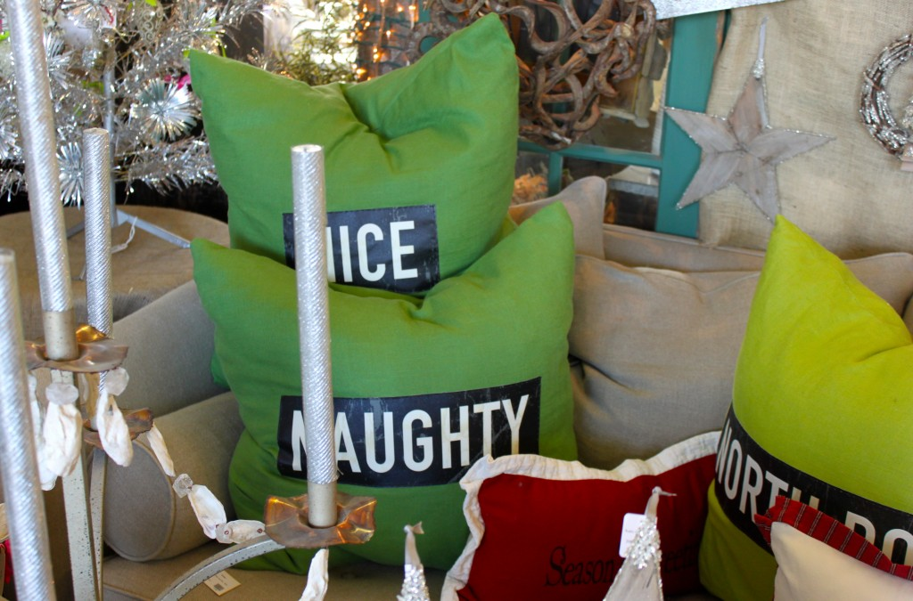 Naughty and Nice pillow Burlap and Crystal