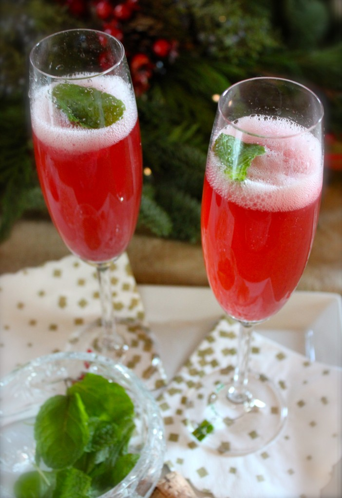 Holiday champagne cocktail