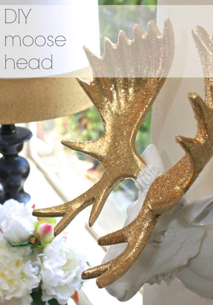 DIY moose head glitter, how too from Burlap and Crystal