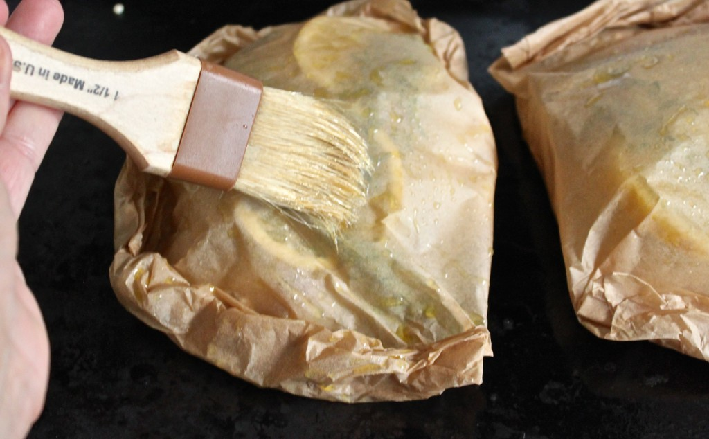Parchment baked fish.