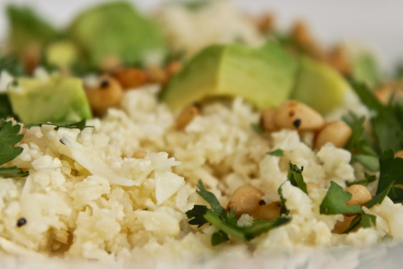 cauliflower couscous with lime and advocado