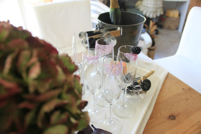 Champagne station at home.