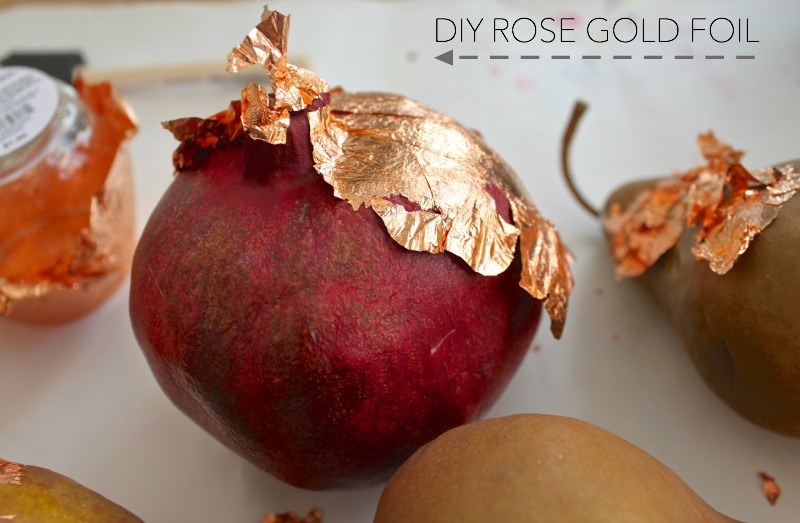 Rose gold foil DIY for the Thanksgiving table.