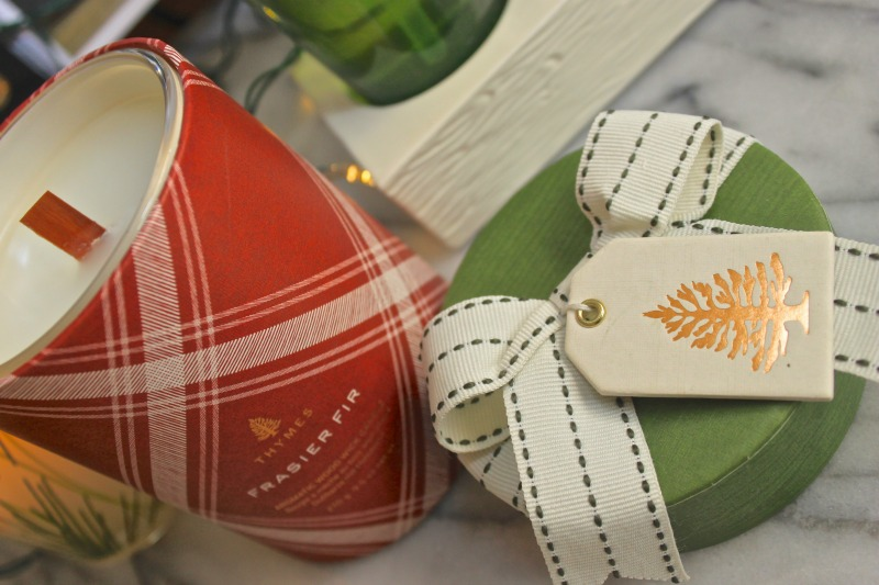 Thymes Frasier Fir holiday candles and home products. This is an amazing gift set.