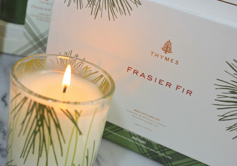 Thymes Frasier Fir scented holiday candle. It smells even better than it looks.