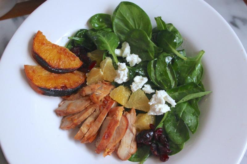 Baked orange chicken salad with glaze ornage dressing