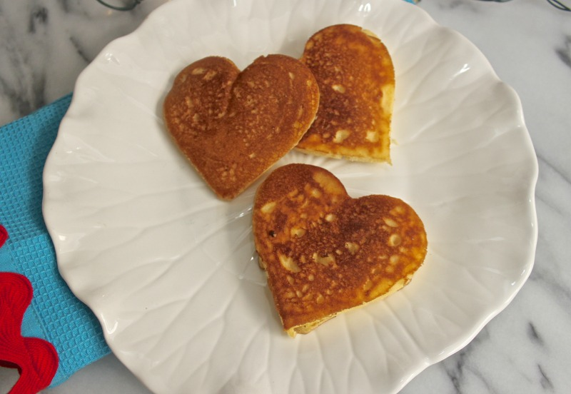 Valentines heart shaped spicy corn cakes