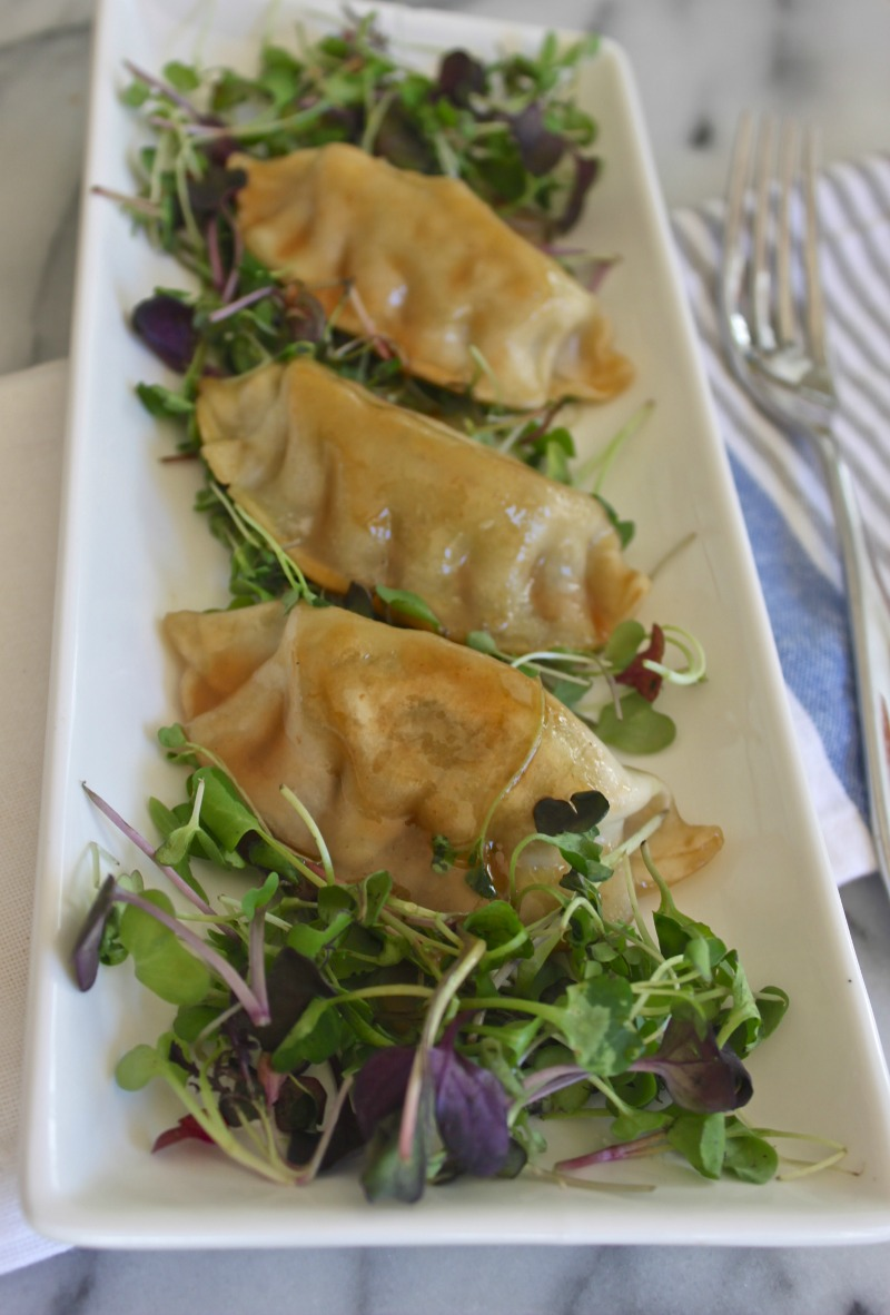Asian micro green plum dumpling salad recipe. Yum!