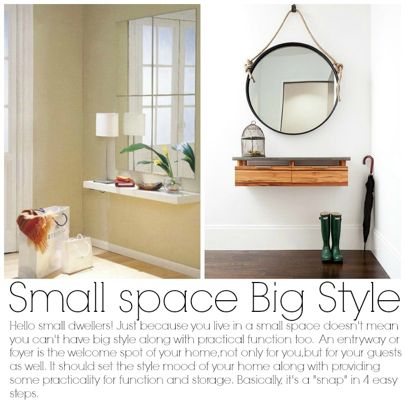 4 steps Afordable small entry solutions with virtual style experts from Burlap and Crystal.