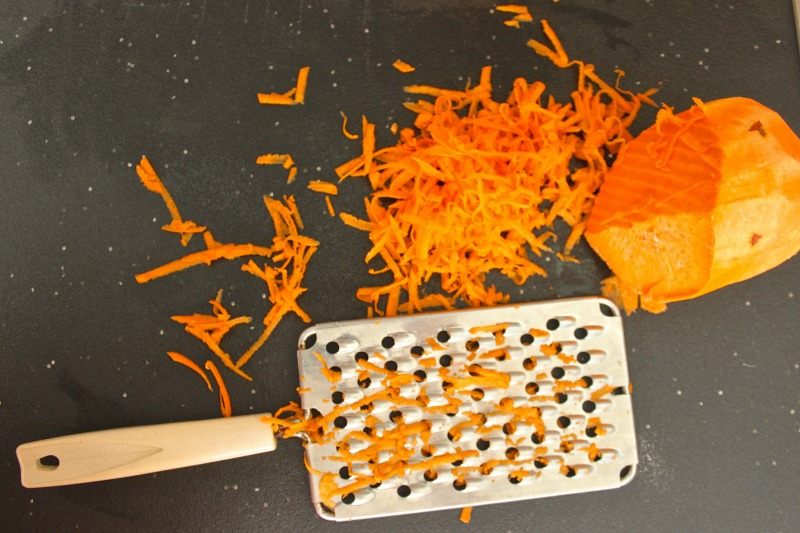 Grated sweet potato for sweet potato chickpea cakes.