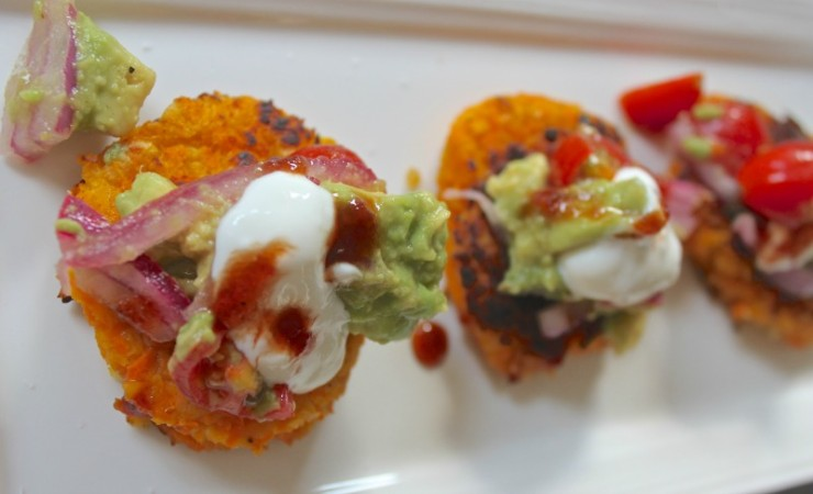 Sweet Potato and Chickpea Cakes with Avocado Salsa from Cooking Light