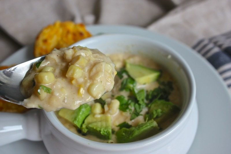 Corn Chowder with a little kick of spice. Super easy and yummy comfort food for a perfect fall night.