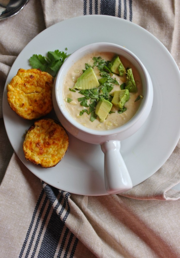 Corn chowder and cauliflower biscuts. A perfect complete meal. Easy, healthy and delicious. Comfort food that helps keep you skinny.