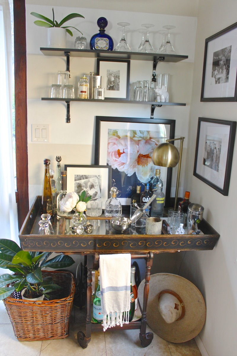 Bar cart focal wall. How to creat a space that tells a style story.