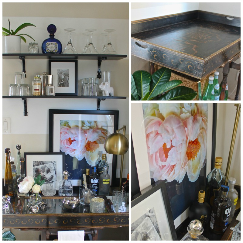 Bar cart focal wall. How to style your home and design a small space.