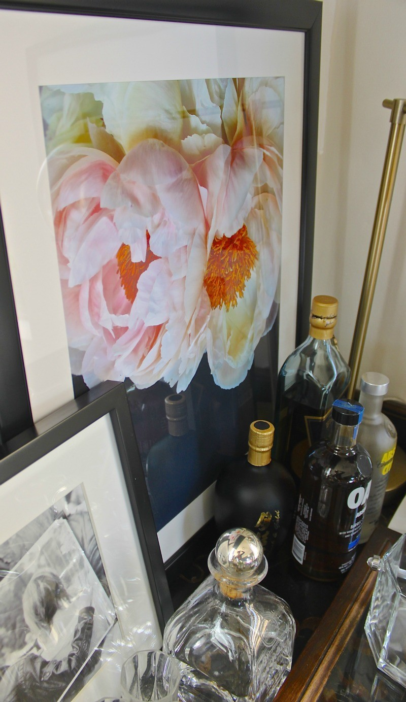 Use phopto's to keep the design personal. Use black and white family photos and for a pop of color take pictures of flowers on solid backgroud and have it blow up large.